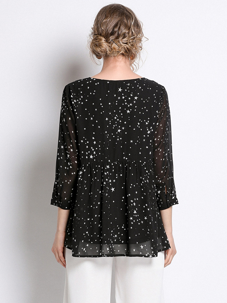 Chiffon Top with Lace Insertion
