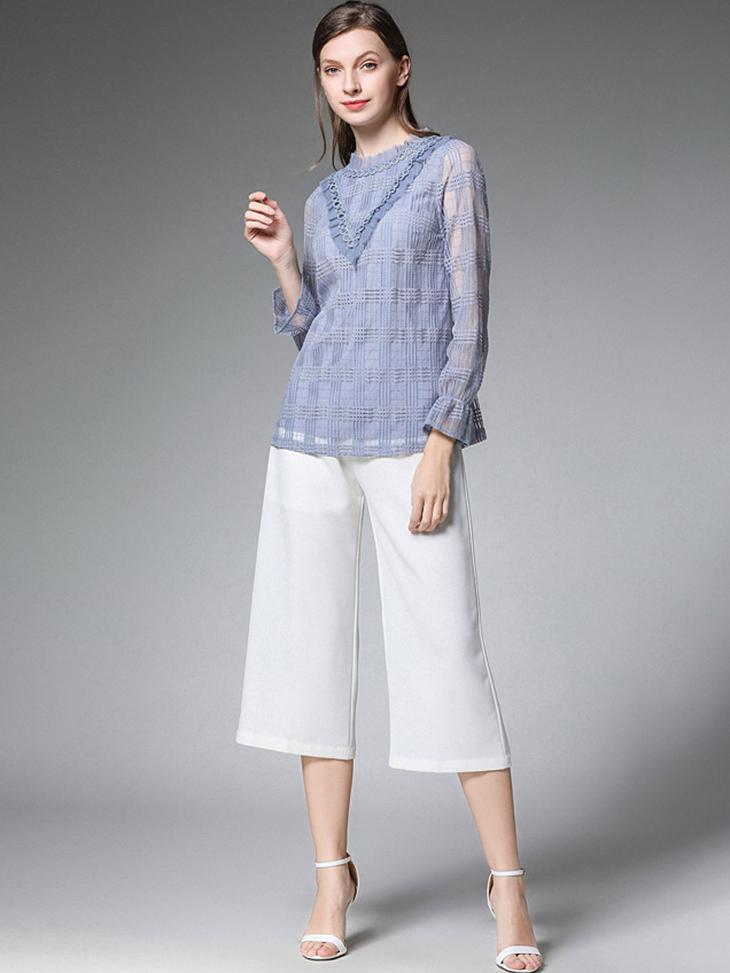 Tailored Lace Top with Chiffon Ruffle Trim