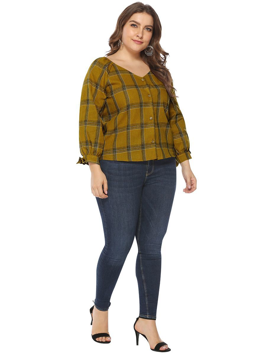 V-Neck Button Front Top in Plus Sizes