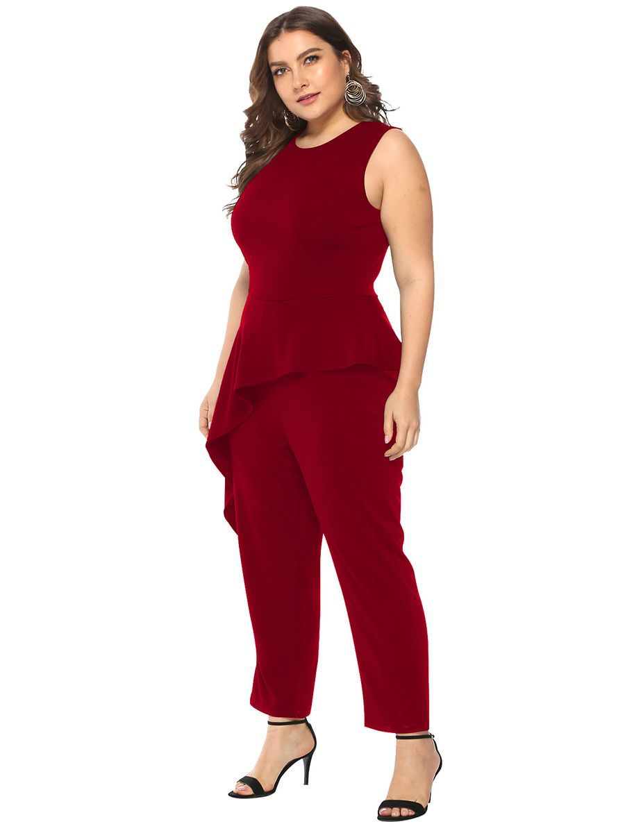 Jumpsuit with Asymmetrical Ruffled Peplum