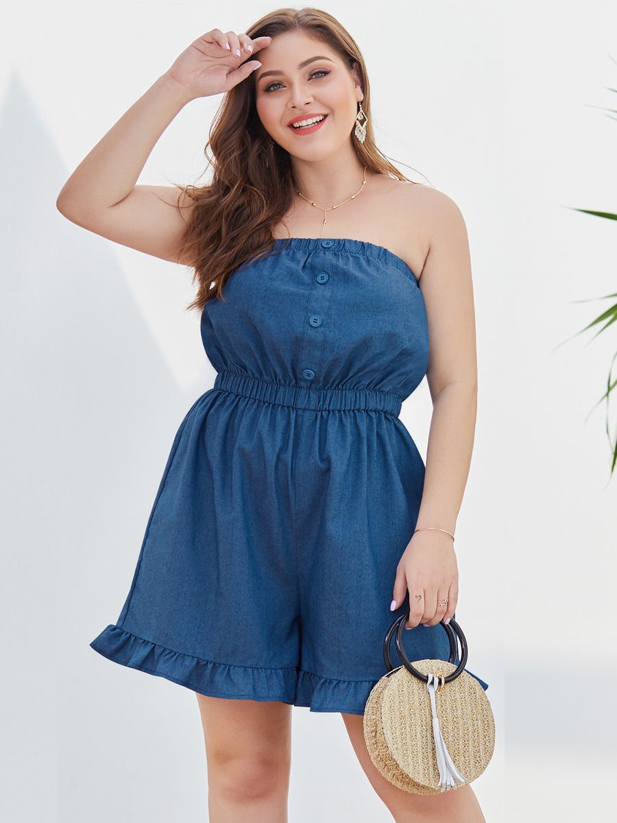 Strapless Romper Jumpsuit with Ruffles