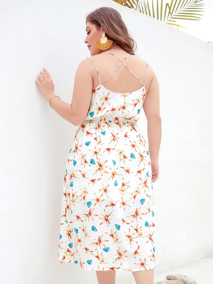 Chiffon Print Cocktail Dress with Slender Crossed Straps