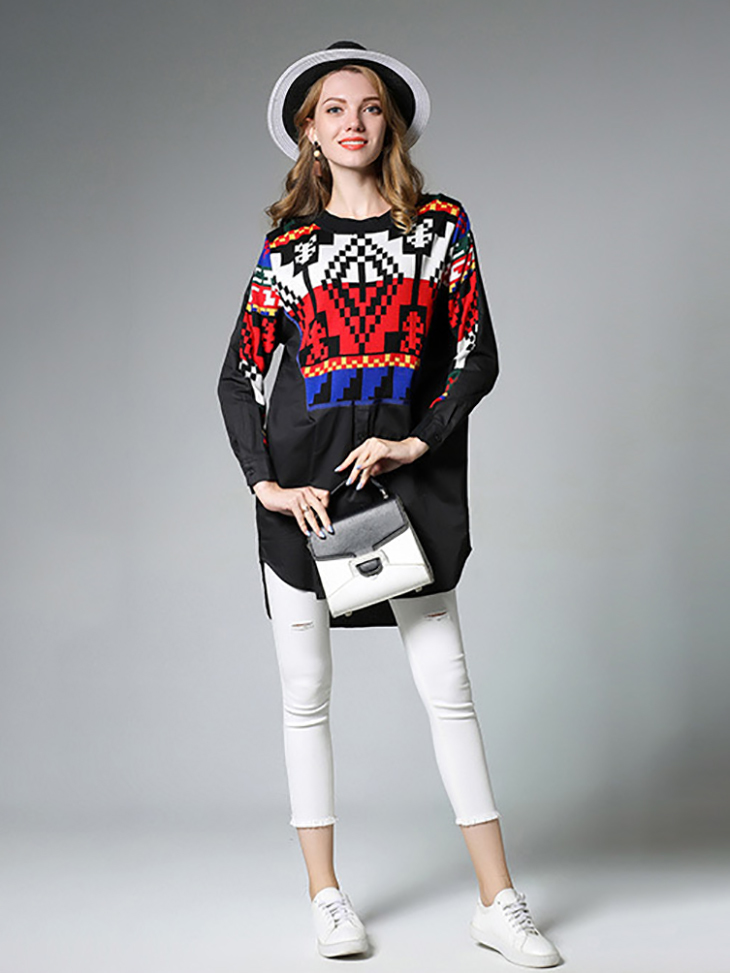 Colorful Knit Tunic Top