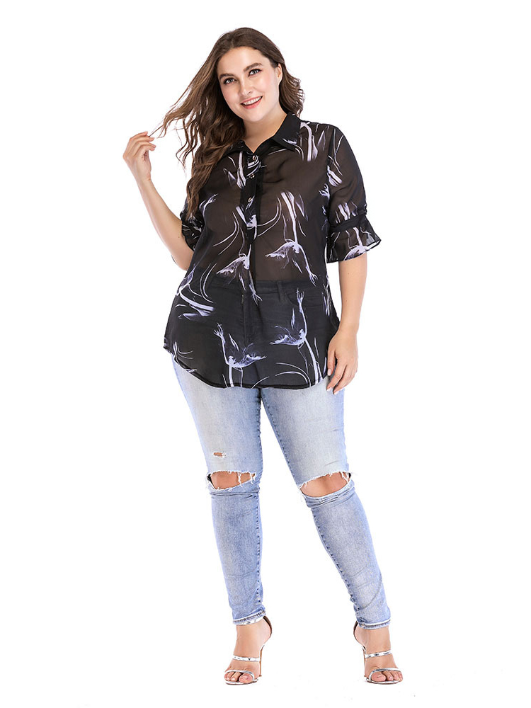 Sheer Chiffon Top with Elbow-Length Trumpet Sleeves