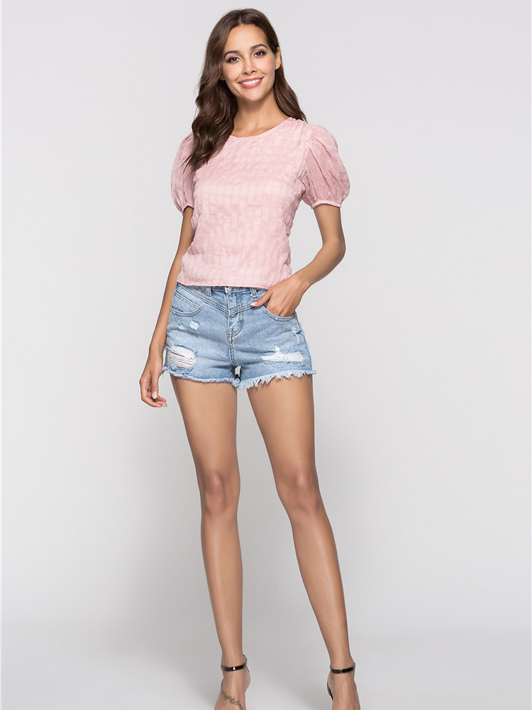 Lace Back Top with Short Puff Sleeves