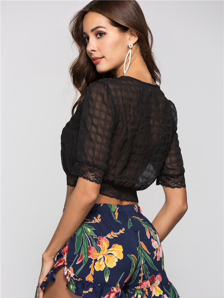 Chiffon and Lace Cropped Top