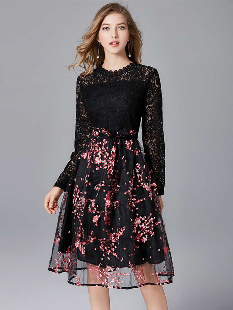 Lace and Organza Cocktail Dress