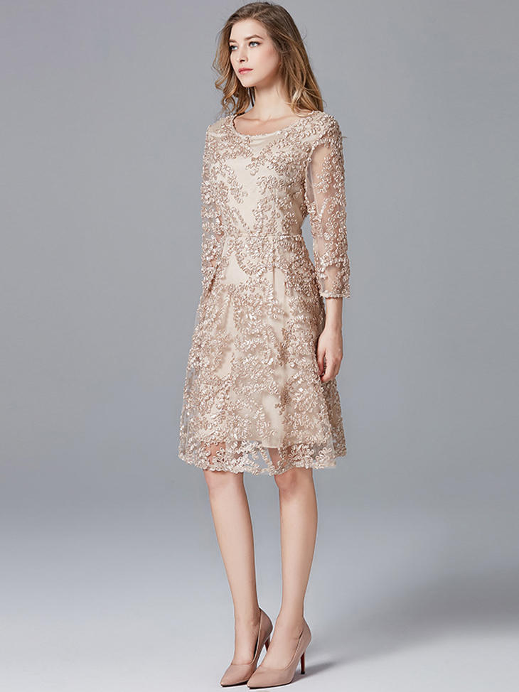 Lace Cocktail Dress with ¾ Sleeves