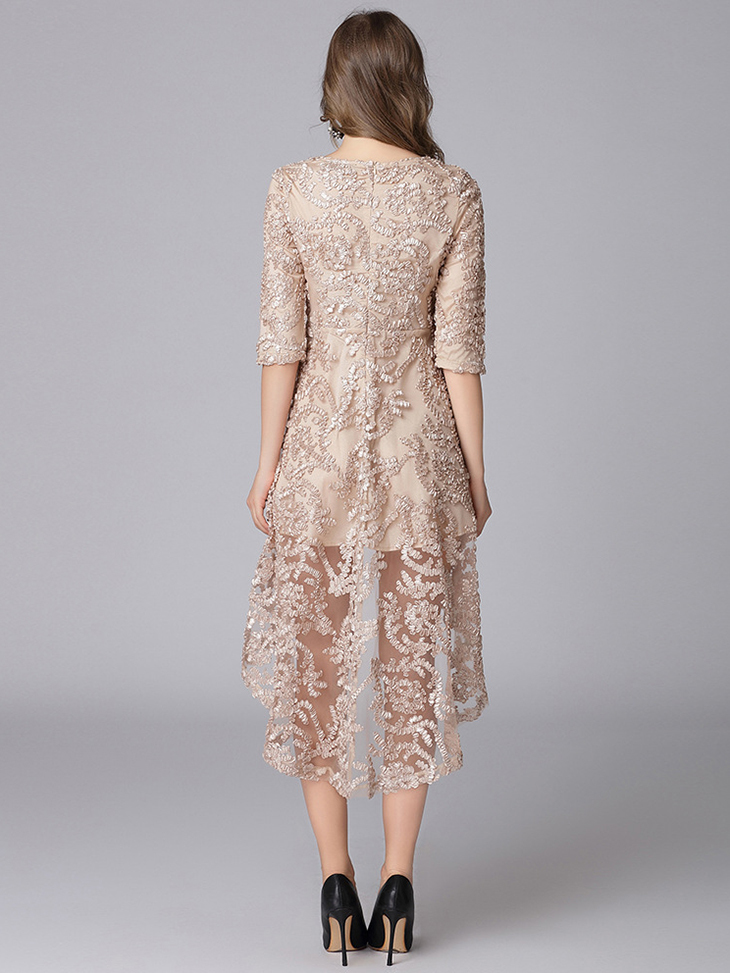Lace Formal Dress with High-Low Hemline