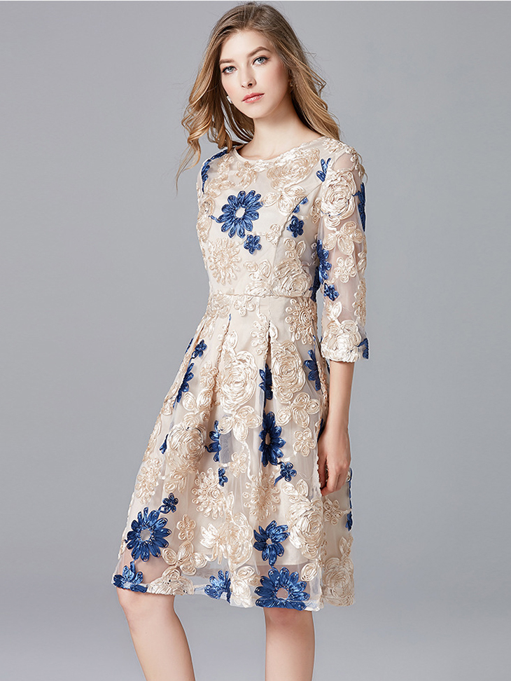 Lace Cocktail Dress with Pleated Skirt