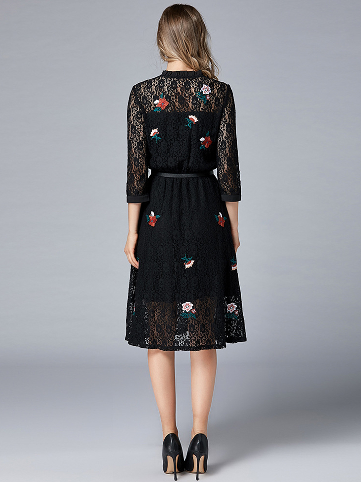 Lace Cocktail Dress with Front Placket