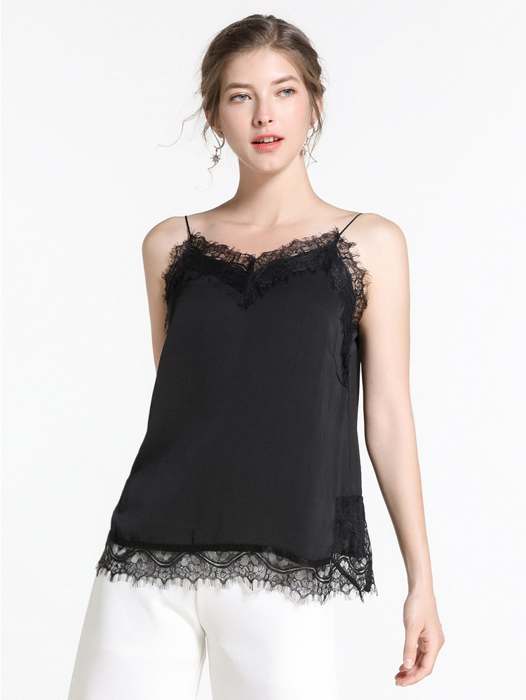 Chiffon Camisole Top with Delicate Lace