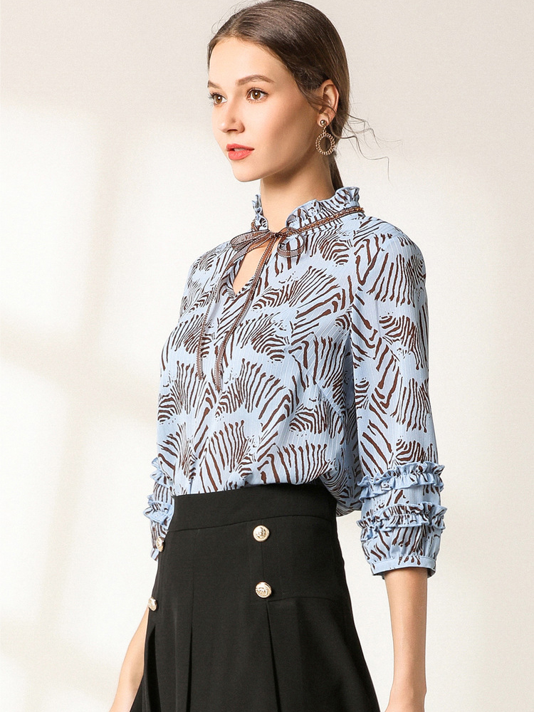 Chiffon Top with Stand-Up Collar and Ribbon Tie