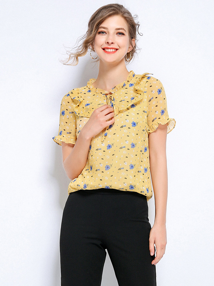 Ruffled Collar Chiffon Top