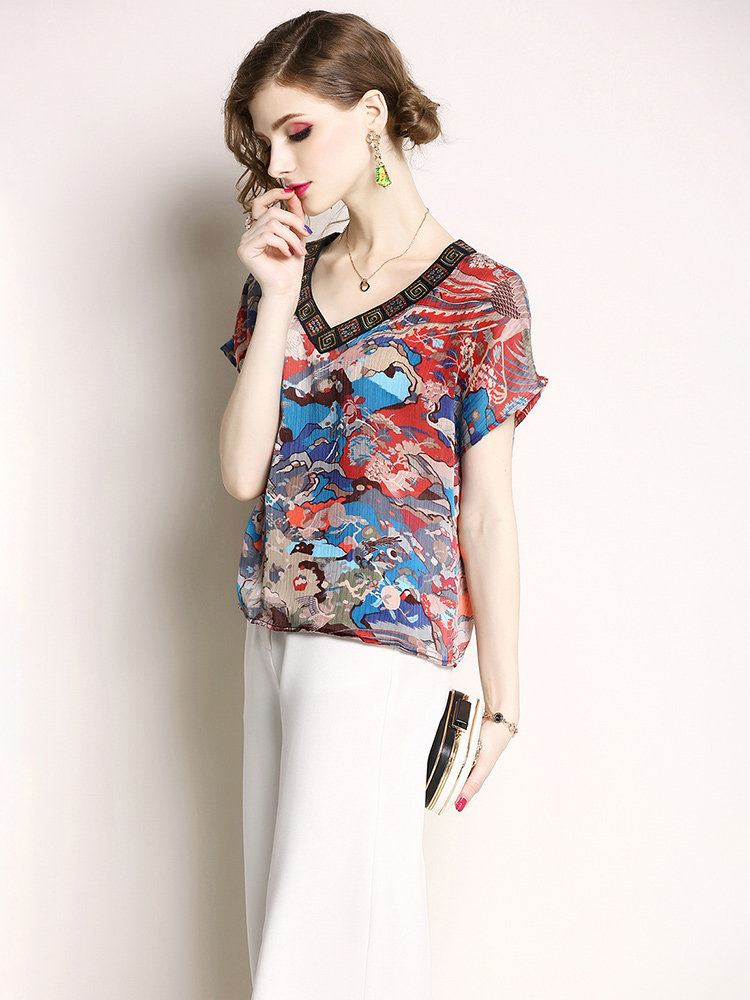 Chiffon Print Top with Cut-On Short Sleeves