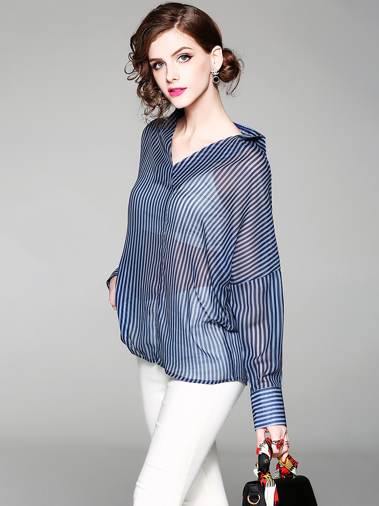 Chiffon Top with Large Collar