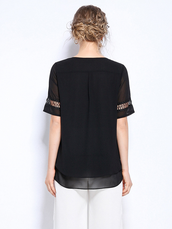 Layered Chiffon Top with Lace Inserts