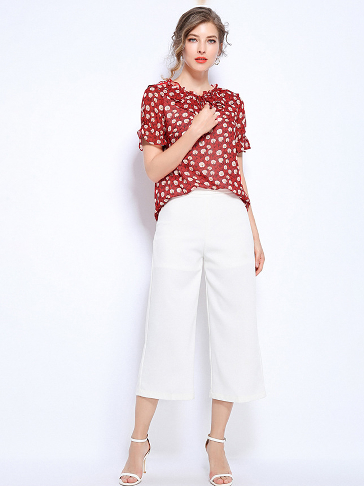 Chiffon Top with Ruffles and Ties
