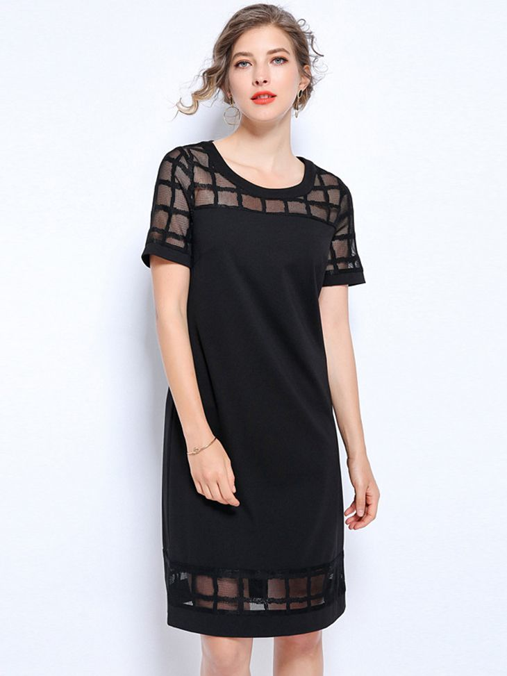 Mesh and Knit Cocktail Dress