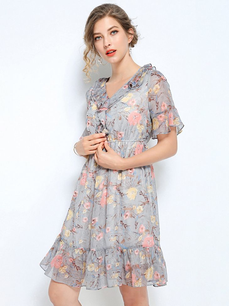 Ruffled Chiffon Print Cocktail Dress