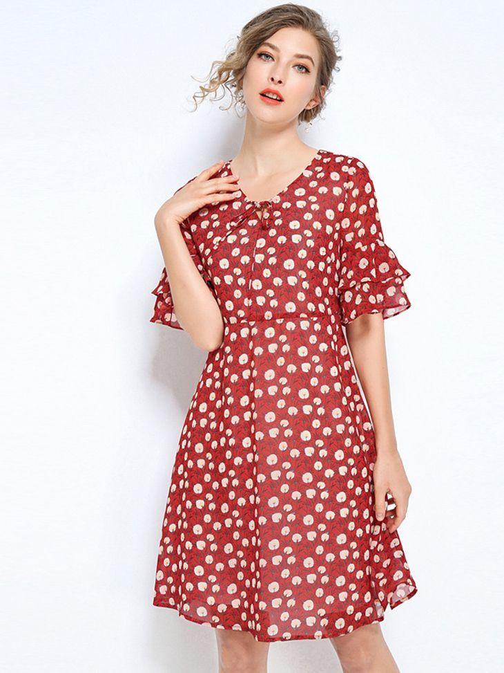 V-Neck Chiffon Dress for Work