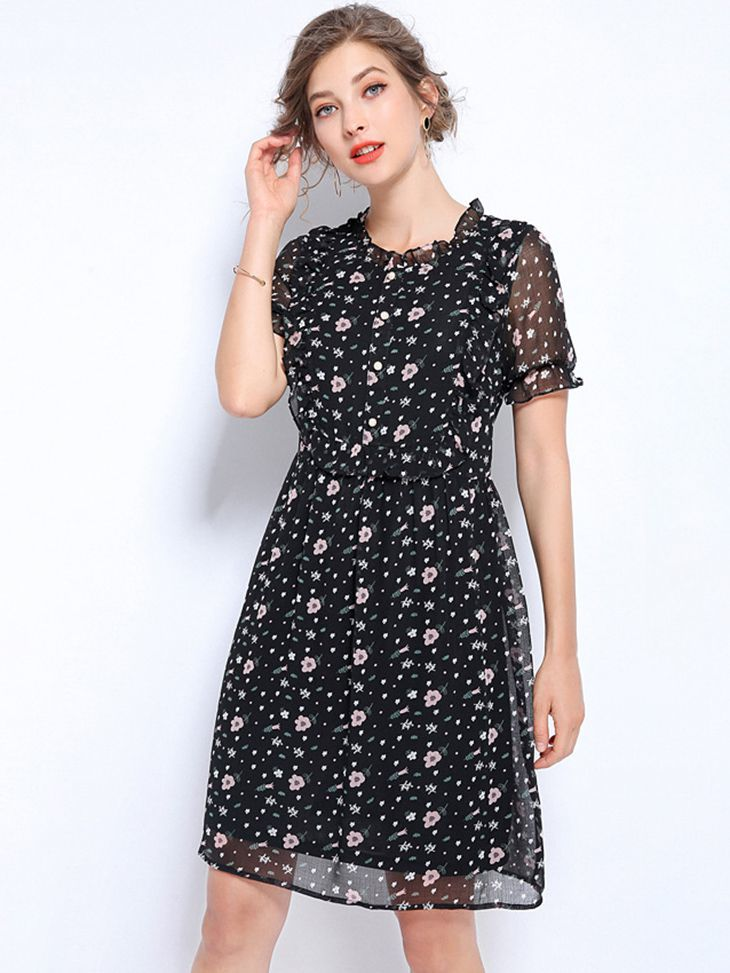 Demure Cocktail Dress in Chiffon