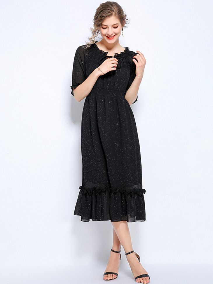 Tea Length Chiffon Cocktail Dress