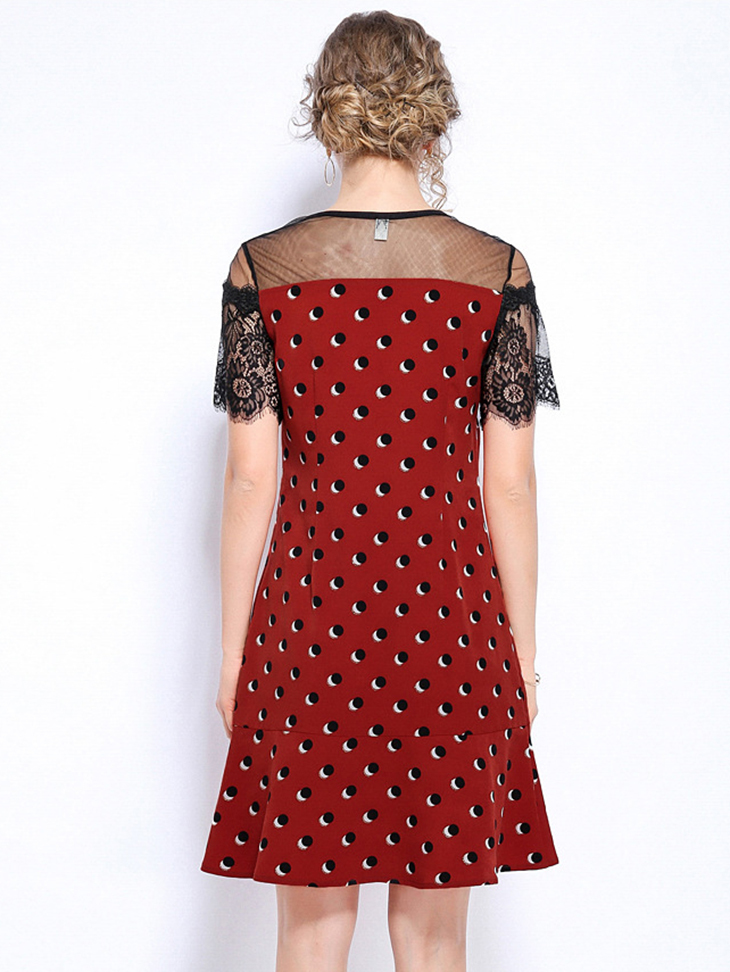 Cocktail Dress with Sheer Lace Sleeves