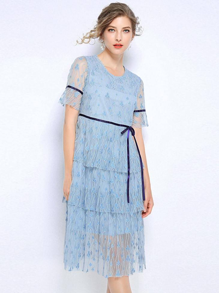 Lace Cocktail Dress with Tiered Skirt