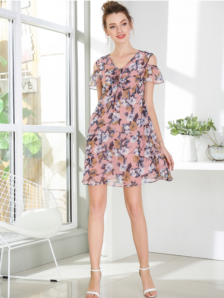 Mini Cocktail Dress in Print Chiffon