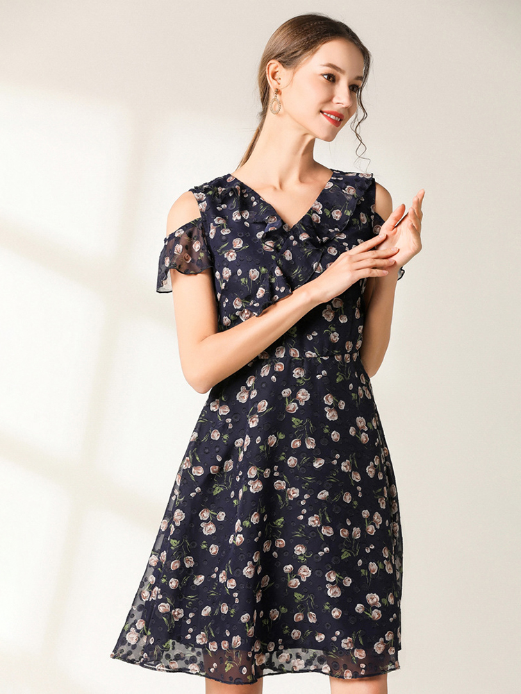 Chiffon Cocktail Dress with Crossed Ruffle Front