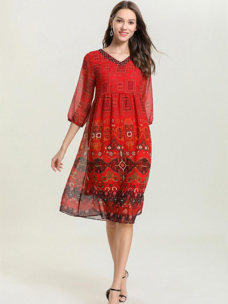 Colorful Chiffon Casual Dress
