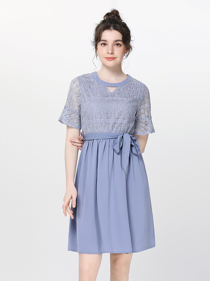 Cocktail Dress with Lace Top
