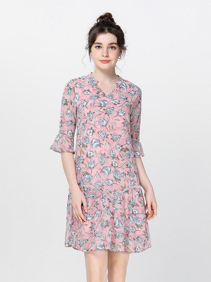 Dropped Waist Chiffon Casual Dress
