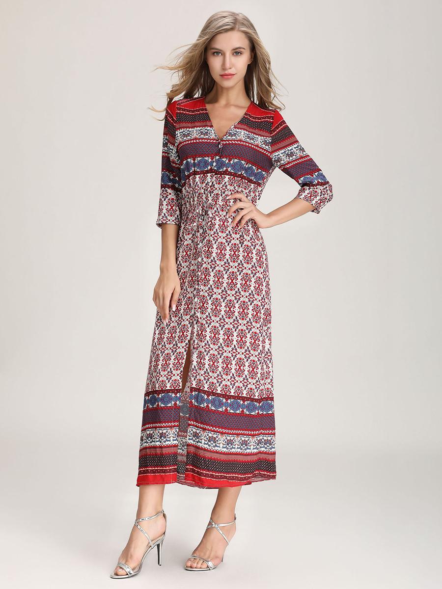 Rayon Casual Dress with Stretch Waist