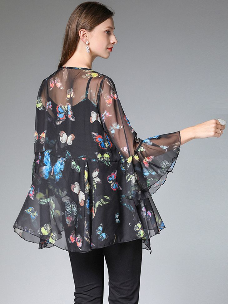 Ruffled Chiffon Top with Scoop Neckline