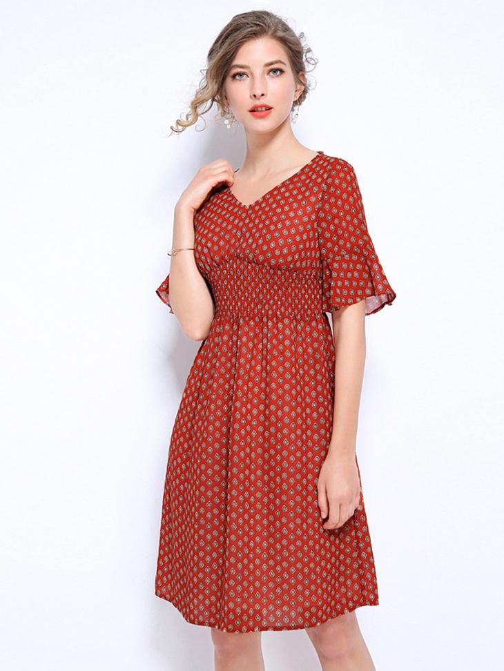Chiffon Work Dress with Smocked Midriff