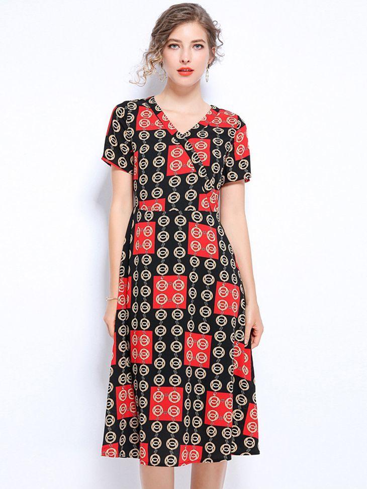 Chiffon Print Work Dress