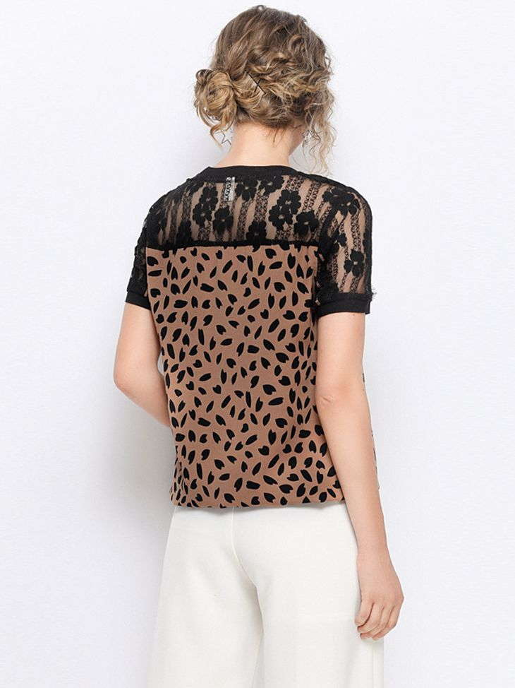 Top with Chiffon, Lace, and Ribbing