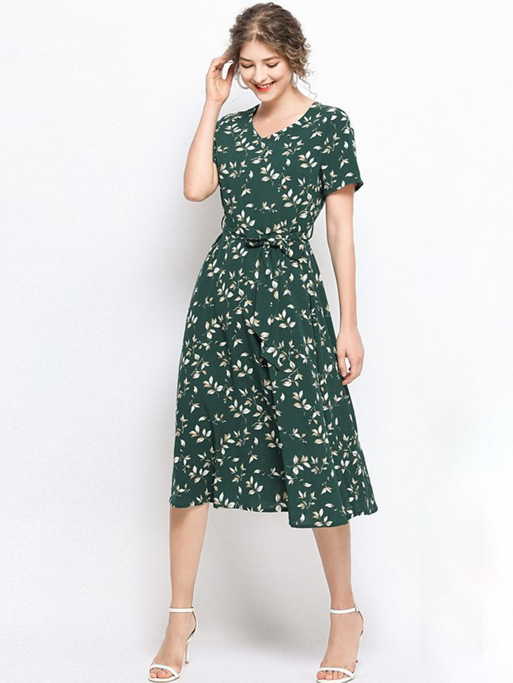 Short-Sleeved Chiffon Print Dress for Work