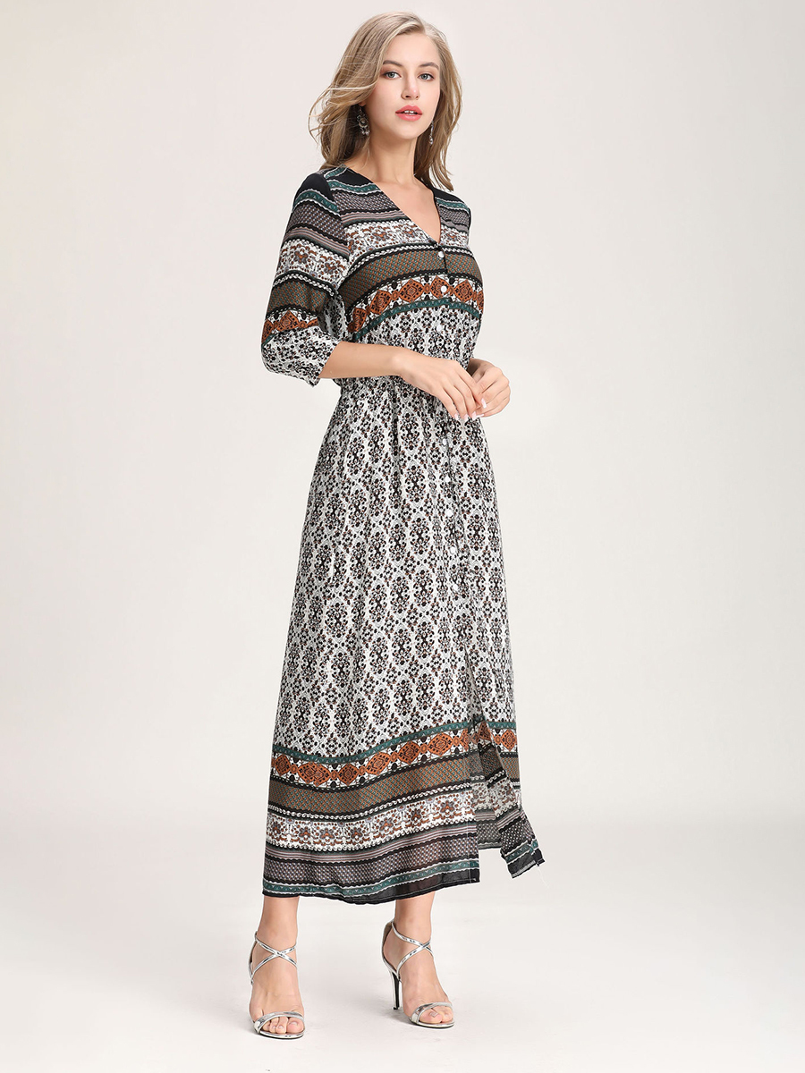 Rayon Casual Dress with Stretch Waist