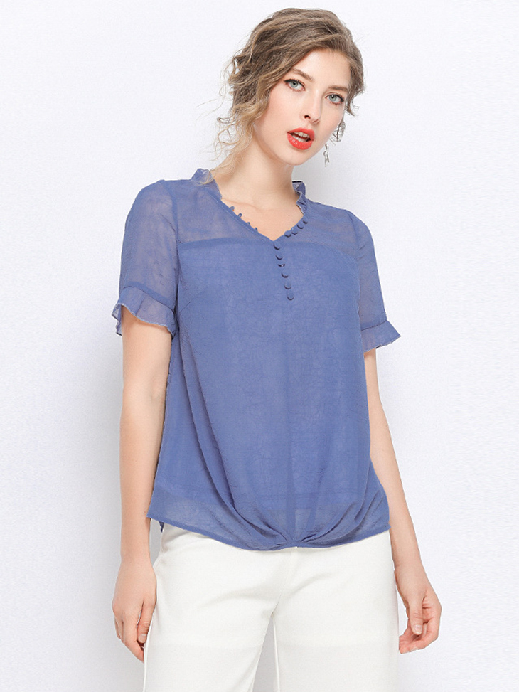 Chiffon Top with Buttons and Loops