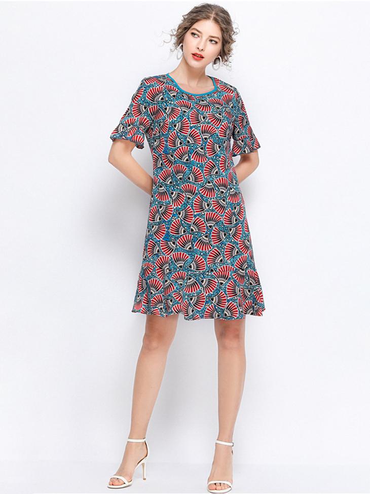 Short Casual Dress in Chiffon Print