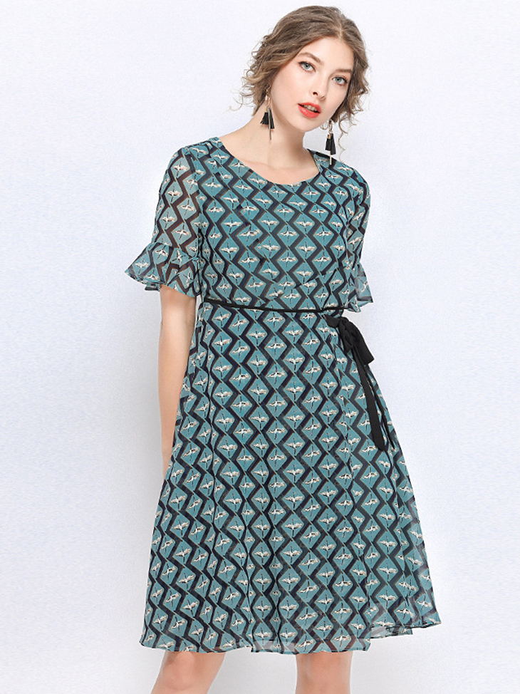 Chiffon Print Casual Dress
