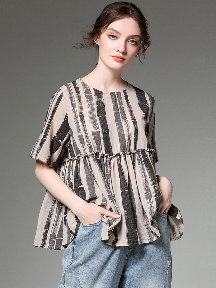 Summer Top with Ruffled Waist