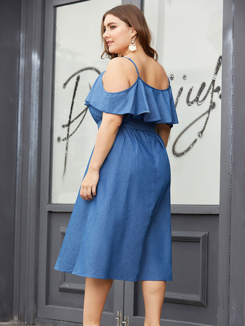 Off-Shoulder Casual Dress with Belt