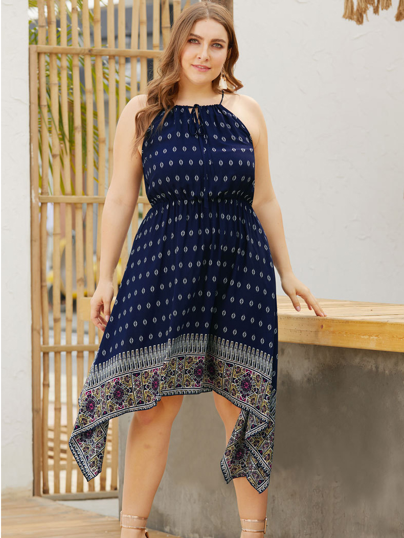 Border Print Casual Dress