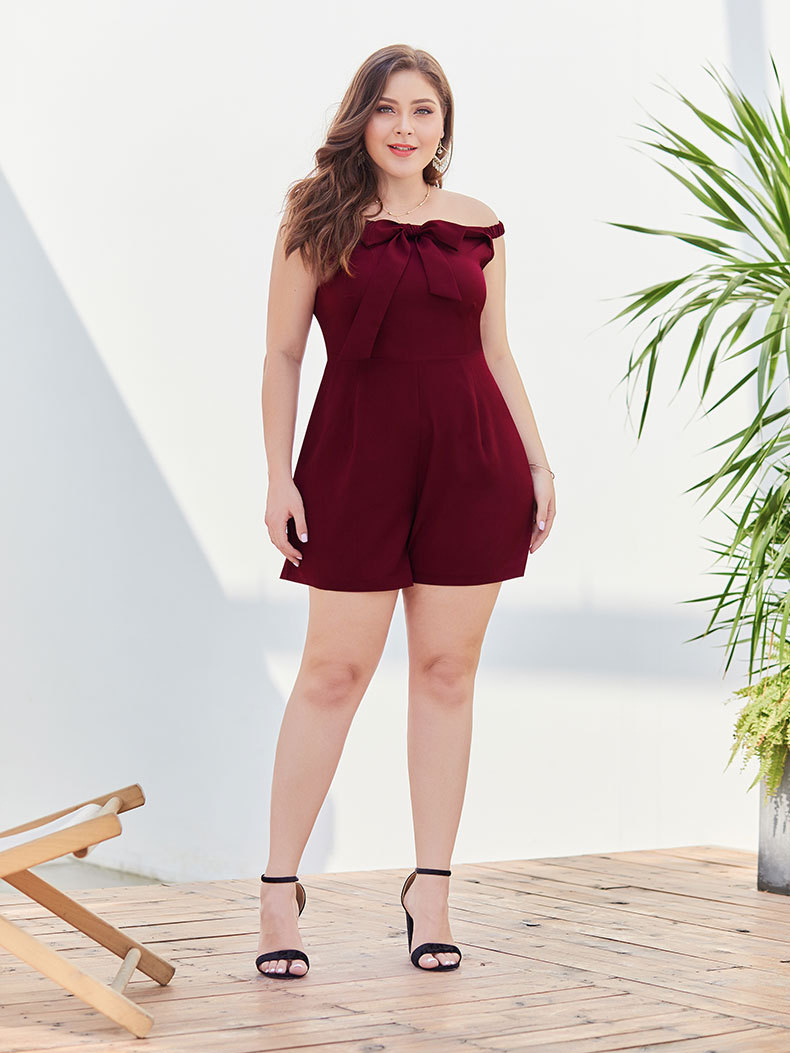 Short Jumpsuit with Front Bow