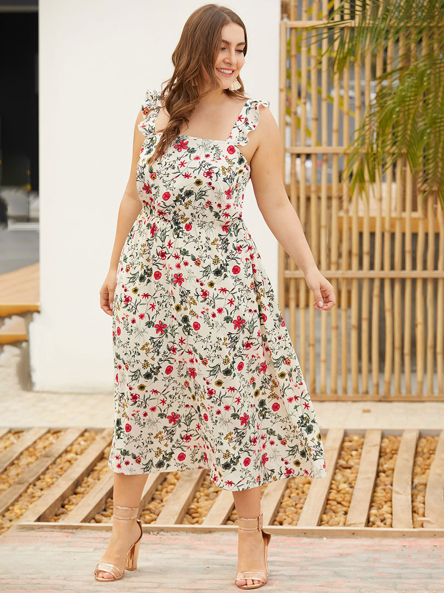 Tea Length Casual Dress with Ruffled Straps