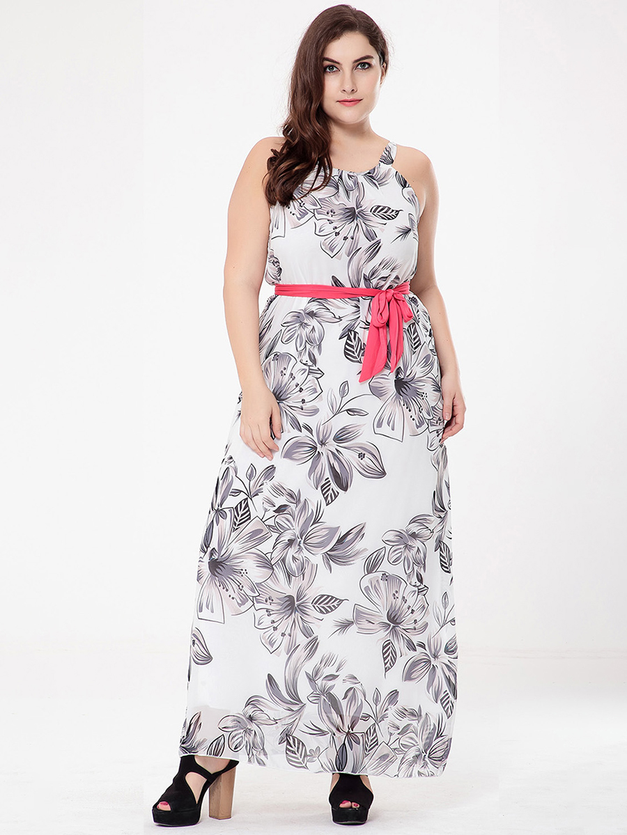 Long Casual Dress with Contrasting Belt